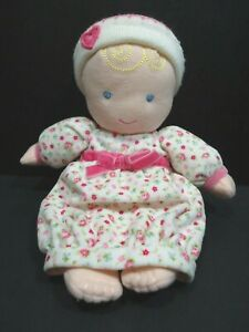 """Carters Plush Doll Blonde Pink Hat Flowers 10"""" #9023 Rattle 2007"""