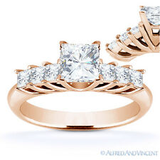 Engagement Ring in 14k Rose Gold Square Cut Forever Brilliant Moissanite 7-Stone