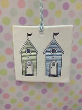 Hand Made Hanging 2 Beach Hut Plaque In Pale Green And Blue Great Gift