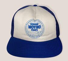 Vintage Moyno Pumps Snapback Trucker Mesh Back Blue White Hat Cap Genuine