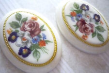 Vintage Cameos 40X30mm Floral Bouquet on Ivory Base Gold Rim Cabochons - Qty 1
