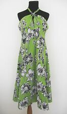 Signature by Robbie Bee Green Floral Halter Dress Size 14