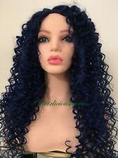 kinky-curly afro wig Blue 20 Inch Long Heat Resistant Ok