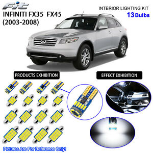 13 Bulbs LED Interior Dome Light Kit Cool White For 2003-2008 Infiniti FX35 FX45