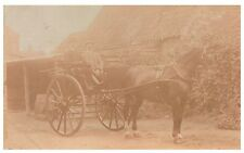 Postcard Edwardian Men Riding Horse & Trap Farm Barn Social History RPPC 15