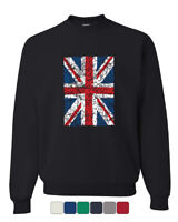 Union Jack Crew Neck Sweatshirt UK United Kingdom Distressed British Flag Brexit