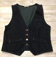 BE BOP Steampunk Denim Vest Women's Blue Green Copper Buttons Sz L EUC FastShp