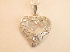 Vintage Jewellery- Sterling Silver Filigree Pendant & Necklace - Deceased Estate
