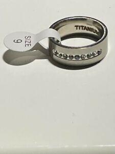 Size 9 Titanium Cubic Zirconia Comfort Fit Band Ring With Nine Stones