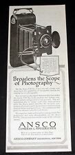 1918 OLD MAGAZINE PRINT AD, ANSCO NO. 2 CAMERA BRODENS THE SCOPE OF PHOTOGRAPHY!