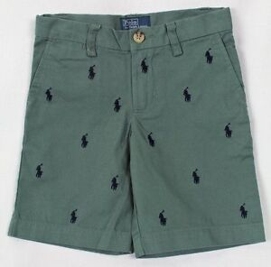 Polo Ralph Lauren Faded Green Chino Shorts Multi Ponies NWT