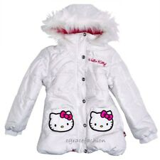 Hello Kitty Kid Girl White Faux Fur Hooded Puffer Jacket/Coat Parka 10/12 $85