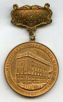 1907 Masonic Fair Souvenir Badge Medal Pin April 15 to May 1 Newark - BP503