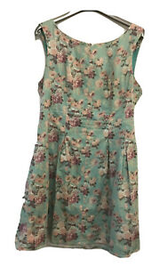 Sunnygirl Green Floral Fit Flare Dress Size 14