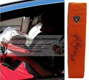 Antonio Smith Oakland Raiders Signed Football Pylon Inscription Proof Autograph