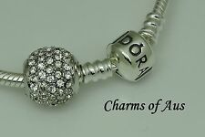 Sterling Silver 925 CLEAR CZ Pave Ball charm. Gorgeous Christmas gift.