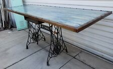 Antique Rectangular Table Reclaimed Wood Sewing Machine Base