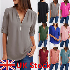 Womens V-Neck Zipper Pleated Loose Chiffon Shirt Ladies Long Sleeve Tops Blouse