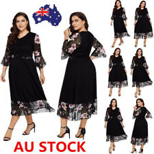 Plus Size Women Floral Flared Sleeve Dress Evening Party Cocktail  Mini Dress