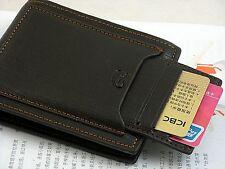 Schwarz-Leder-Bifold Mappen-Kredit / ID-Kartenhalter -Nizza Geschenk für Männer