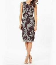 Phase Eight Natalia Tapework Dress, Aubergine/Cream UK Size 14 S RRP £189