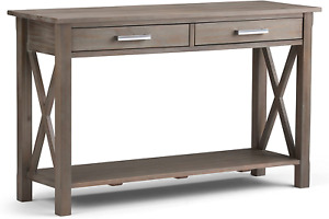 SIMPLIHOME Kitchener SOLID WOOD 47 inch Wide Contemporary Modern Console Sofa in