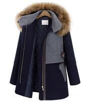 Womens Winter Warm Woolen Thick Trench Coat Fur Collar Hooded Jacket Parka Cloak
