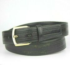 Black Vintage Retro Faded  Real Leather Belt Gold Buckle Size M