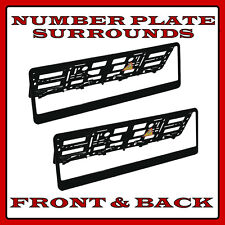 2x Number Plate Surrounds Holder Black ABS for Vauxhall Vectra C