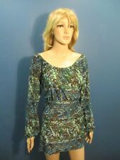 L multi-color PAISLEY PRINT ELASTIC COLLAR PEASANT blouse by SUSAN LAWRENCE