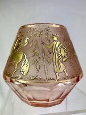 Moser Carlsbad Vase Á Facettes Cristal Avec Frise Oroplastie Année 1925 Art Déco