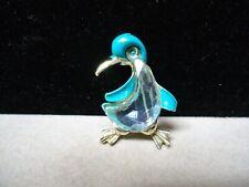 Vintage (Penguin - Bird) Blue Enamel & Cut Blue Glass Ocean Theme Brooch Pin