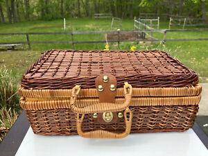 Vintage Woven Wicker Picnic Basket Suitcase Style Storage Kitchen Decor