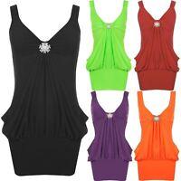 New Ladies Broach Strap V-Neck Diamante Buckle Broach Waterfall Dress Top 8-22