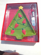 hallmark christmas tree serving dish plate with lighted spreader