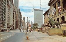Illinois, Chicago, Looking North Michigan Avenue auto cars bus lion statue 1963
