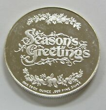 Seasons Greetings Candy Caine Silver Art Round 1 oz. .999 Fine Silver
