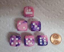 Dice - *Bowling Fun*- Gemini Pink/Purple w/White Ball, Pin & Lane as #1 - 6/Set
