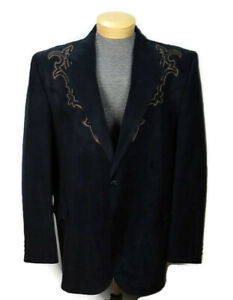 Circle S Mens Western Rockabilly Blazer Size 52L Black Microsuede Sport Coat