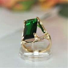 Extravaganter long 20mm Smaragd grün Damen Ring Gold 14K GP (585pl) Gr 63 Ø20,0