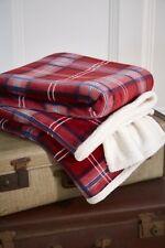 Tartan Check Red Blue Reversible Ultra Plush and Sherpa Fleece Throw Christmas