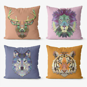 Abstract lion tiger 4 Pieces Two Sides Printed Throw Pillow Case Cover