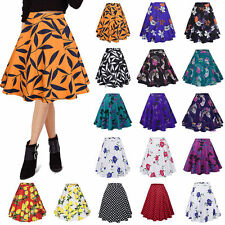 Women Floral High Waisted Skater Full Circle Pleated A-Line Midi Skirt Plus Size