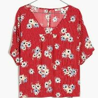 Madewell Womens Floral Oversized Daisy Society Rhyme Top Shirt Blouse Size L NEW