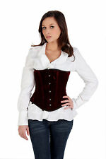 Shaper Corset Red Velvet Steel Boned Underbust Training Cincher SC80004B Sz44