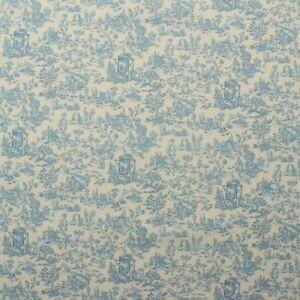 "COVINGTON CHELSIE SWAN BLUE DOG FARM WOODED TOILE MULTIUSE FABRIC BY YARD 54""W"