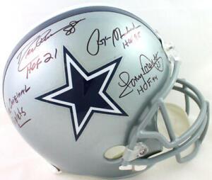 Drew Pearson/Roger Staubach/Tony Dorsett Signed Cowboys FS Helmet 2 Insc- BW*Blk