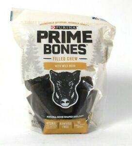 1 Bag Purina 22.5 Oz Prime Bones With Wild Boar 14 Pack Small Filled Chew