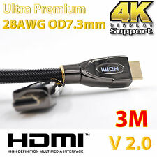 3m Ultra Premium HDMI Cable V2.0 Gold Plated 3D High Speed Full 4K Audio ARC