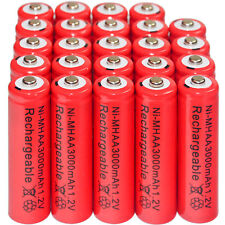 24 x AA 3000mAh Ni-Mh 1.2V rechargeable battery Cell for MP3 RC Red US Stock